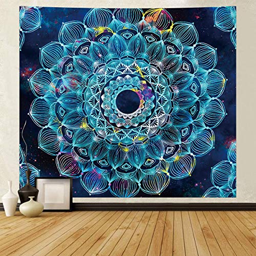 Tapiz de Mandala,Tapiz de Pared Azul Tapices de Pared Mandala Tapices de Pared Indio Colcha Doble Sábana de Picnic Decoración de la Pared Manta Arte de la,130x150cm
