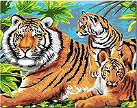 DIY 油絵 数字キットによる絵画 (3匹の虎)塗り絵大人の子供用 ギフト 数字キットでペイント ホームデコレーション 40x50cm