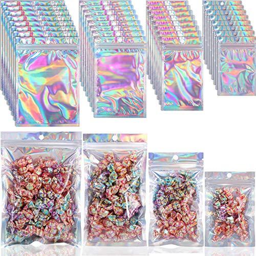 120 Stück Mylar Reißverschluss Taschen Wiederverschließbare Geruchsneutrale Beutel Taschen Holographisch Mylar Taschen Aluminium Folie Beutel mit Hängend Loch für Süßigkeiten, Schmuck, 4 Größen