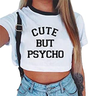 f7f5b4b201 Baijiaye Camiseta para Mujer Patrón Impreso Crop Top Chica Joven Casual De  Moda Media Cintura Top
