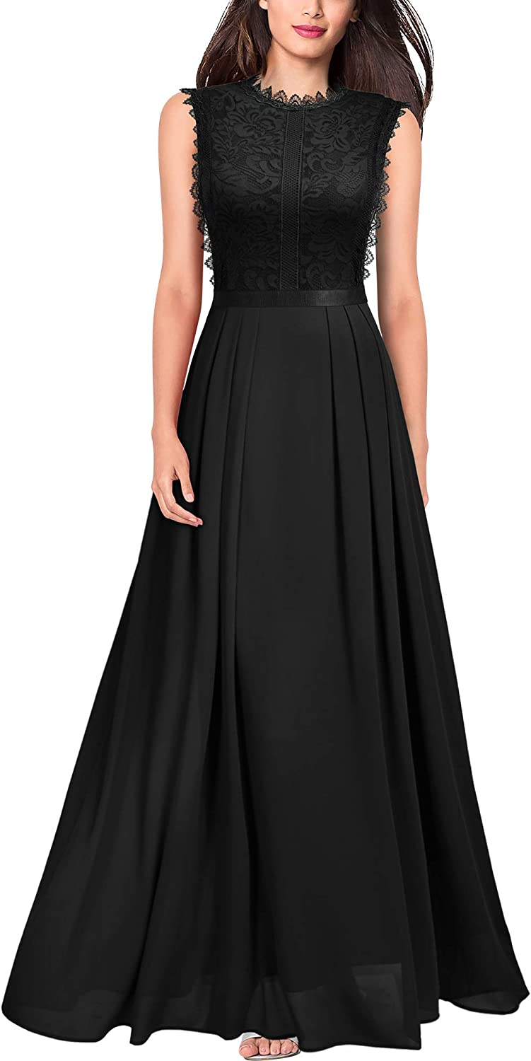 MISSMAY Women's Formal Floral Lace Sleeveless Long Evening Party Maxi Dress
