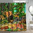 Gdmoon Jungle Animal Shower Curtain Tropical Forest Elephant Lion Flamingo Shower Curtain Giraffe Zebra Monkey Leopard Rhino Parrot Wildlife Zoo Bathroom Curtains Set with 12 Hooks 72x72In YLWHGD546