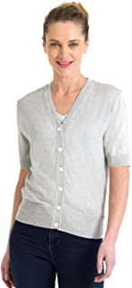 0ad4caa82c391d Woolovers Womens Silk and Cotton Short Sleeved Knitted Cardigan