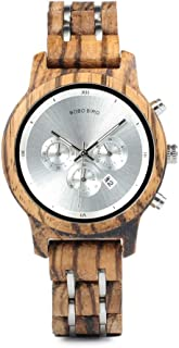 Wooden Watches Womens Wood Metal Strap Combined Chronograph & Date Display Quartz Causal Watches Versatile Ladies Female Timepiece Perfect Watches