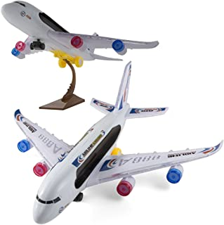 Kidsthrill A388 Airplane Toys Bump and Go Action Plane | Flashing Lights and Jet Sounds | Airbus Toys for Kids with A Stand | Great Gift for Boys, Girls Or Toddler