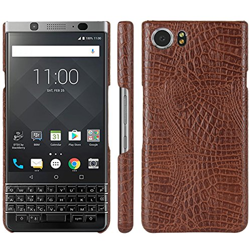 HualuBro BlackBerry Keyone Hülle, [Ultra Slim] Premium Leichtes PU Leder Leather Handy Tasche Schutzhülle Hülle Cover für BlackBerry Keyone Smartphone (Braun)