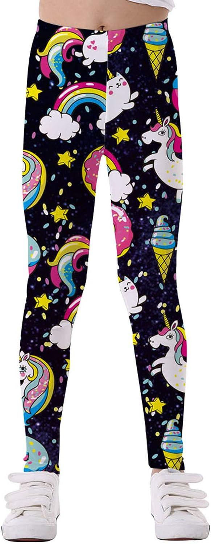 YUUMIN Kids Girls Stretchy Rainbow Horse Pattern High Waist Leggings Tights Pants Black 10