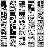 Juego de 20 plantillas para pintura - Kit para bullet journal, plantilla de plástico para 1000 dibujos, para agenda, cuaderno, diario, libro de recortes, arte, proyectos creativos y manualidades