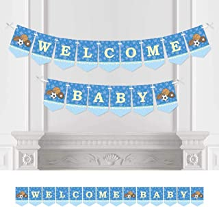 Big Dot of Happiness All Star Sports - Baby Shower Bunting Banner - Blue Party Decorations - Welcome Baby