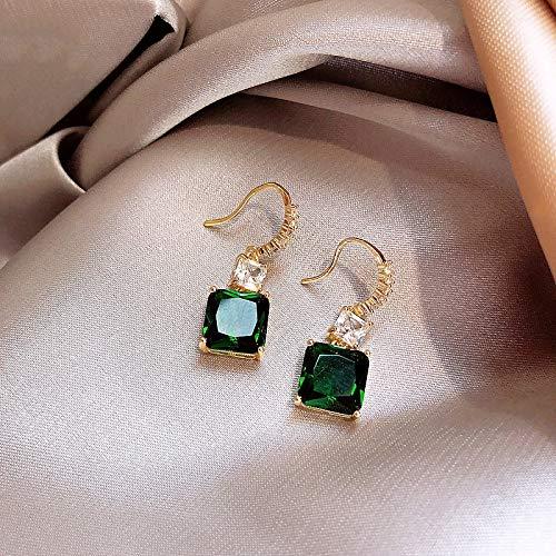 feilai Stud Earrings Classic Geometric Women Dangle Earrings Green Square Crystal Earrings Retro Drop Earrings Jewelry Earrings