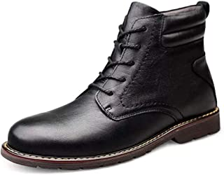 Sunny&Baby Ankle Boots for Men Work Boots Lace up Genuine Leather Round Toe Non-Slip Low Heel Solid Color Vegan Patchwork (Fleece Inside Optional) Durable (Color : Black-Fleece Inside, Size : 7 UK)