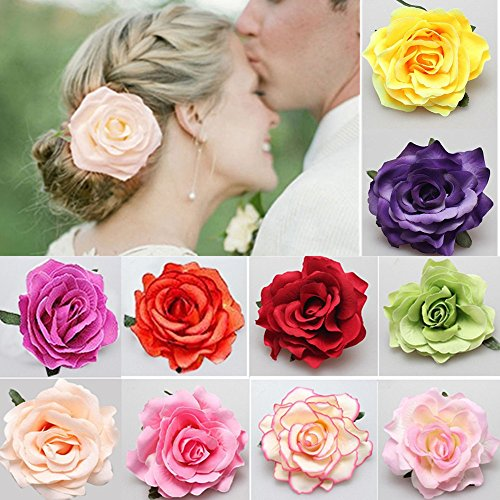 Fiori per Capelli, Clip di Fiori 10 pezzi Multicolore Rosa Fiore Forcina Fermagli per Capelli per Donne Ragazze Festa Spiaggia Nozze
