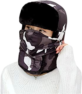 Windproof Snowproof Faux Fur Trapper Hat Ski Cycling Balaclava with Mouth Cover