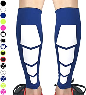 Beister 1 Pair Calf Compression Sleeves for Women & Men, Footless Shin Splint Leg Support Socks for Pain Relief, Recovery, Running, Travel, Cycling Nurse,Large