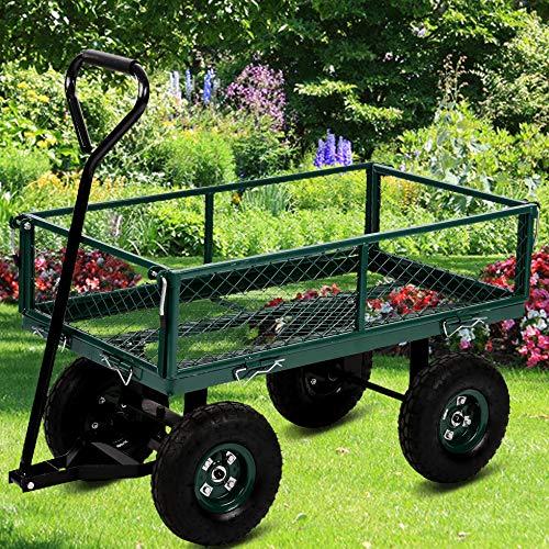 "Dkeli Garden Cart Yard Dump Cart Wagon Carrier with Sturdy Steel Frame & 11"" Pneumatic Tires, 400Lbs Weight Capacity, Heavy Duty Utility Wheelbarrow Garden Dump Cart for Outdoor Lawn Landscape, Green"
