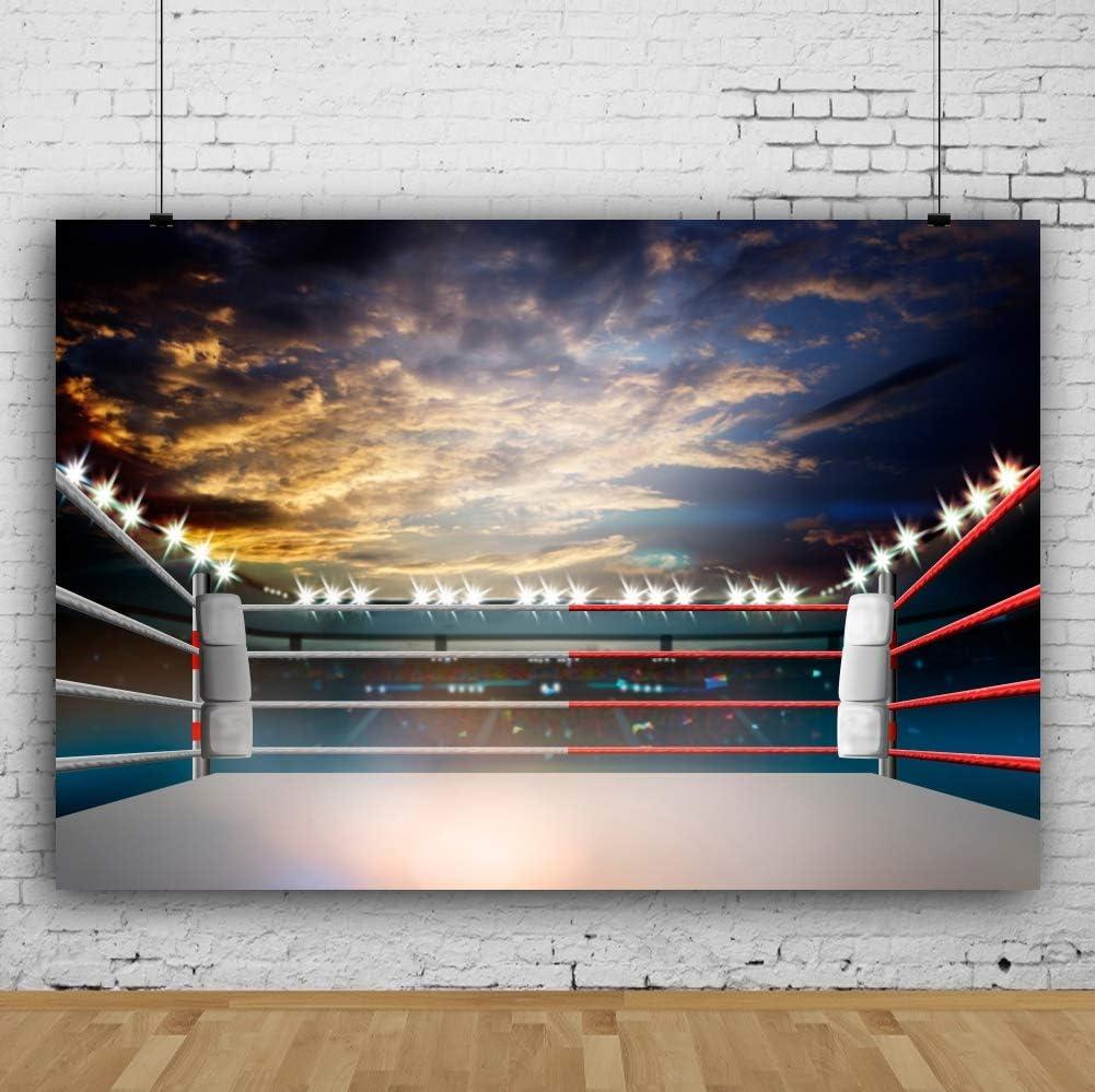 CSFOTO 10x6.5ft Arena Photogarphy Backdrop for Boxing Match Wrestling Match Arena Background Boxing Gym Kung Fu Gym Gymnasium Decor Flashlight Adults Portrait Photo Studio Props