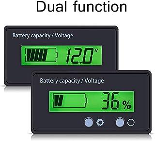 تستر ظرفیت باتری و ولتاژ سنج با نمایشگر نور پس زمینه LCD ، ضد آب 12V 24V 36V 48V نشانگر باتری اسید سرب ولتاژ سنج ولت متر سنج ولت متر برای خودرو