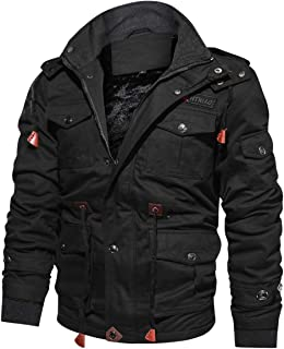 Men's Winter Casual Thicken Multi-Pocket Outwear Jacket Coat with Removable Hood