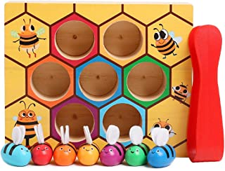 kizh Toddler Fine Motor Skill Toy,Wooden Lovely Bee Hive Toys Matching Game Color Sorting for Toddler Baby Early Educational Montessori Game Toy for 2 3 4 Years Old Kids