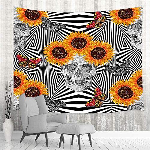 Trippy Tapiz de calavera, tapiz psicodélico de calavera, tapiz abstracto colorido tapiz bohemio hippie negro y blanco para colgar en la pared para sala de estar o dormitorio, 152 x 101 cm