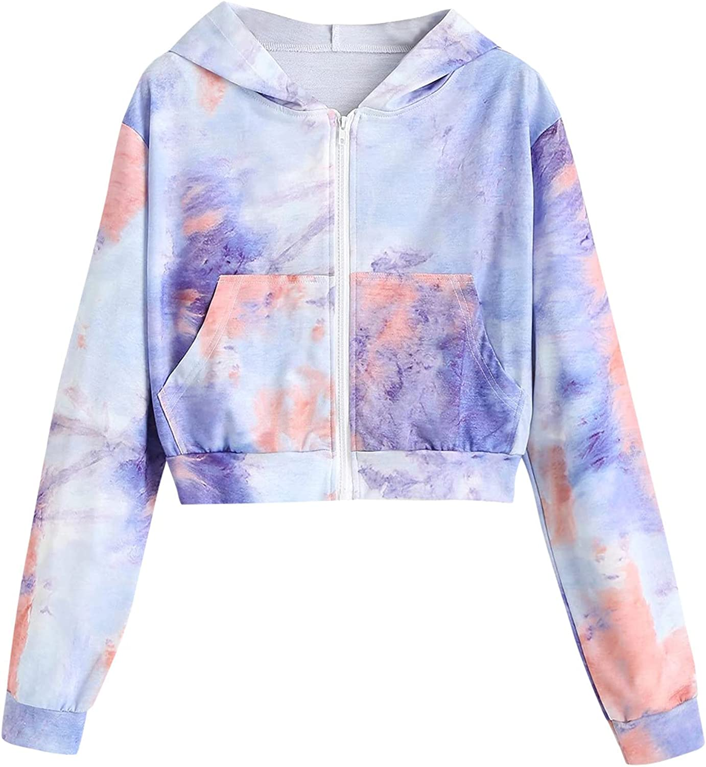 Lousioa Women's Tie-Dye Zip Up Pockets Sweatshirt Sales of SALE items from new works Some reservation Long with Slee
