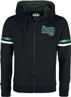 Batman Joker - Arkham Asylum Prisoner Homme Sweat-Shirt zippé à Capuche Noir, Regular/Coupe Standard