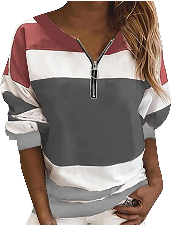 Kanzd Long Sleeve trend rank Sweatshirts for Women Fashion Stripe Zip Pu Up Free shipping New