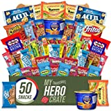 My Hero Crate Microwave Military Care Package - 50 Pcs Variety Gift Basket - Snack Variety Box Pack with Ramen, Candy, Pop Tarts, Nuts, Skittles and More