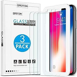 OMOTON iPhone XS/X Protector de Pantalla [2.5D/Dureza 9H] iPhone XS/X Cristal Templado, Anti-Burbujas, Herramienta de Instalación, 5.8 Pulgadas, 3 Unidades