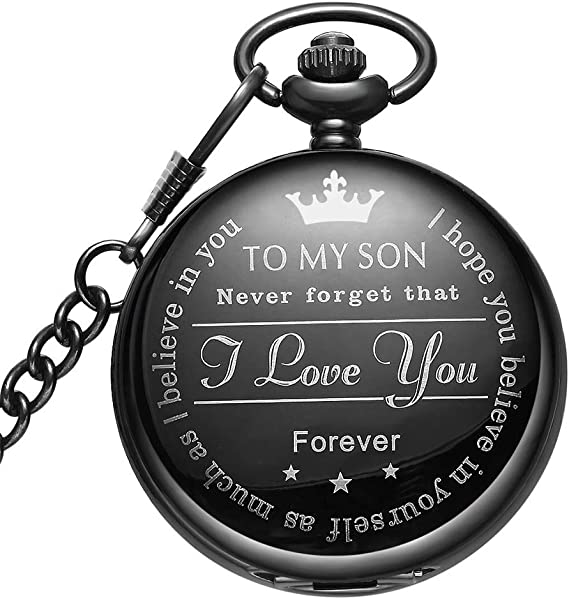 LYMFHCH Black Pocket Watch Personalized Pattern Steampunk Retro Vintage Quartz Roman Numerals Pocket Watch