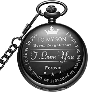 LYMFHCH Engraved Son Gifts Pocket Watch Personalized Pattern Vintage Quartz Pocket Watch with Chain Christmas Graduation Gifts