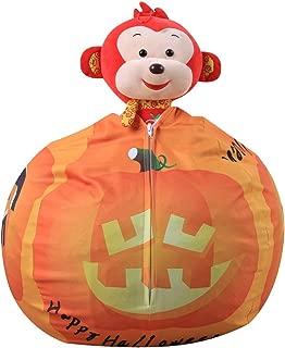 Large Canvas Bean Bag  Comfortable Seat Pillow  Children s Toy Storage Bag  Round Beach Halloween Pattern Collection Box Orange 26 quot