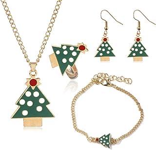 4 Pcs Dainty Christmas Jewelry Sets Christmas Tree Jingle Bells Brown Reindeer Pendant Necklaces Earrings Rings Bracelets ...