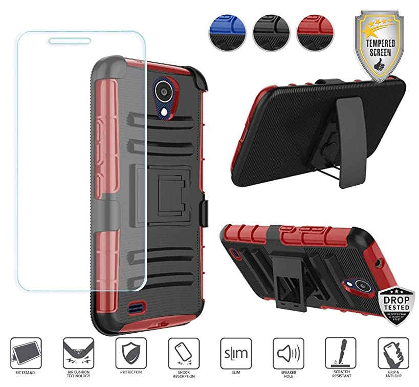 Compatible for At&t Axia QS5509a Case, Cricket Vision Case with Holster, with Tempered Glass Screen Protector, Premium Holster Hybrid Combo Case [Clip] with Stand [Shockproof] [Armor] (Black/Red)
