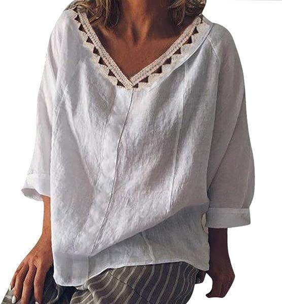 Blouses For Women Fashion 2019 YEZIJIN Women Summer Casual Lace Floral Loose Maxi Basic Oversize Blouse Tops T Shirts