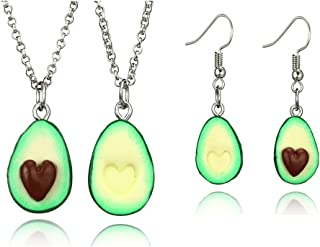 2 Pack Cute Avocado Pendant Necklace for Women Charm Fruit Jewelry for Best Friends