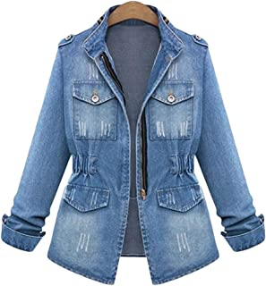 Womens Denim Jacket Casual Slim Fit Long Sleeve Loose Trucker Coat Outerwear Top Jeans Outercoat Windbreaker