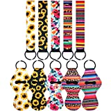 5 Pairs Vibrant Chapstick Holder Keychains, Neoprene Lipstick Holder Keychain Protective Cases with Wristlet Lanyard, Portable Balm Holders Pouch for Girls Women - Convenient & Lovely (Style 1)