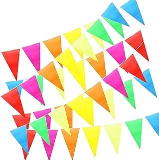 comprar comparacion ZoneYan Banderines Decoración, Bunting Banner, Banderín Multicolor 50M con 100 Bunting Bandera de Triángulo para el Partid...