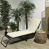 TIENDA EURASIA® Cojín para Tumbona de Jardín - 10 Colores - Cojín Acolchado Relleno de Fibra - Medidas 180 x 50 x10 cm (Beige)