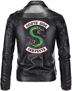 Riverdale Southside Serpents Biker Gang Black Faux Leather Jacket Zip Up Archie Andrews Betty Cooper Costume for Men Women