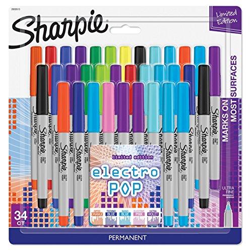 34pk Permanent Marker Ultra Fine Tip Multicolor - Sharpie