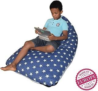 DaMeru Stuffed Animal Storage Bean Bag Chair Finest Storage, Hammock & Organizer for Kids' Plush, Jumbo & Cuddly Toys | Premium Quality Cotton Canvas | Free E-Book (200 L/52 Gal, Navy & Grey)