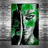 wojinbao Wandkunst Leinwand abstrakt Makeup Girl Leinwand Kunst Poster und Drucke Blumen Orchidee...