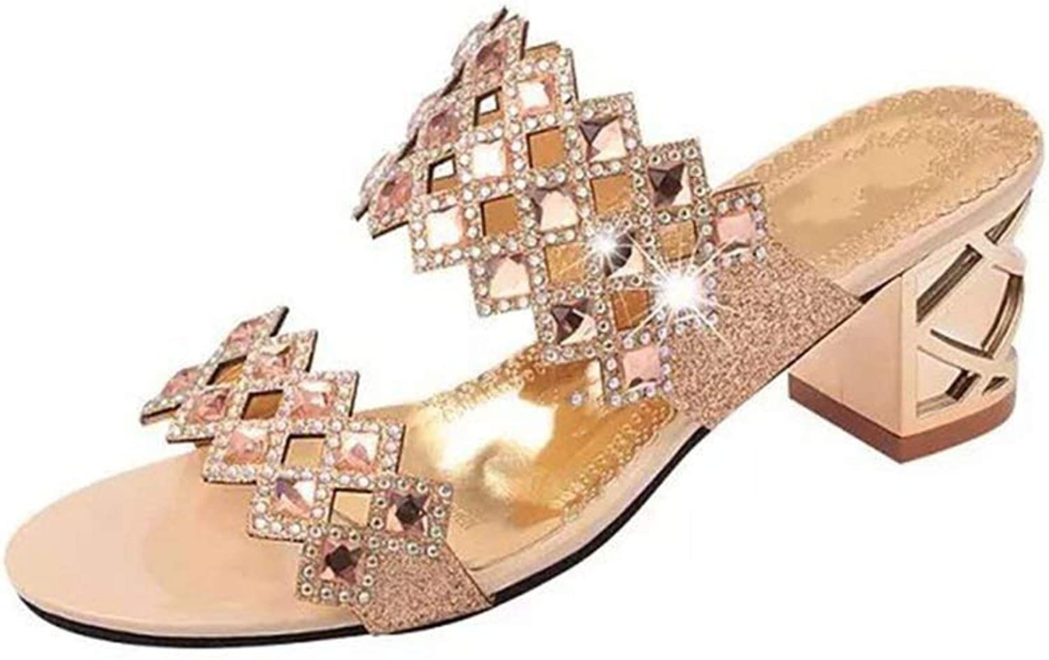 Sandals 2019 Summer with Chunky Heel Crystal Fashion Sandals and Slippers Female Wild Outer Wear Ms Slide