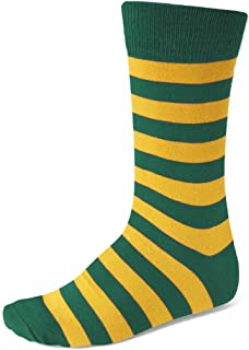 Men's Hunter Green and Golden Yellow Striped Socks