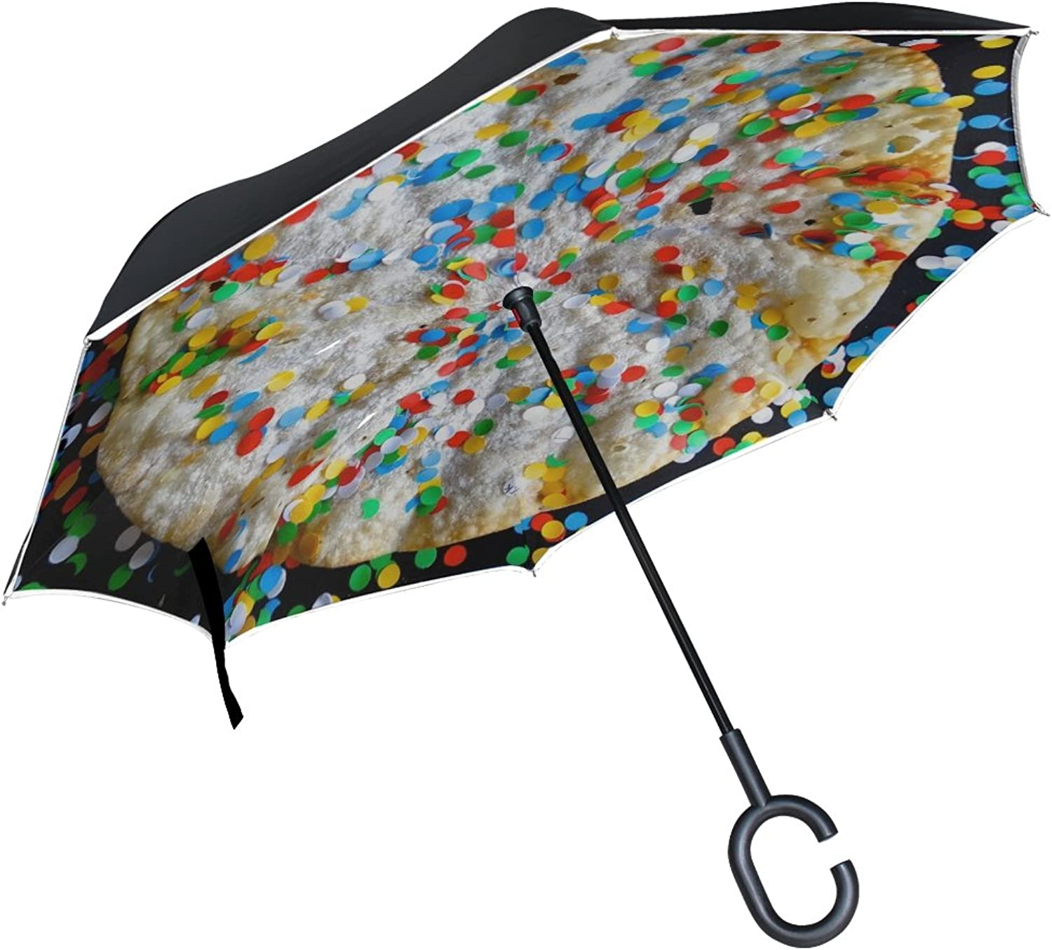 Double Layer Ingreened Carnival February January Carnival Cake Umbrellas Reverse Folding Umbrella Windproof Uv Predection Big Straight Umbrella for Car Rain Outdoor with CShaped Handle
