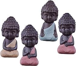 Blesiya 4PCS Traditional Little Buddha Statue Monk Tea Pet Decoration Kungfu Tray, Meditation Decorative Accessories for Z...
