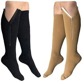 HealthyNees 2 Pairs Set Closed Toe 20-30 mmHg Zipper Compression Fatigue Swelling Circulation Knee Length Socks (L/XL)
