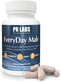 PR Labs - EveryDay Male Vitality and Performance Supplement for Men Over 40 - Supports Healthy and Natural Hormone Levels, Sustained Energy, Muscular Strength, Performance at Home, and Mood - 1 Pack